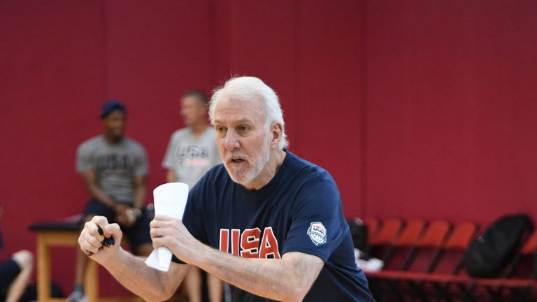 Gregg Popovich issues instructions at the USA Basketball Select camp in Las Vegas