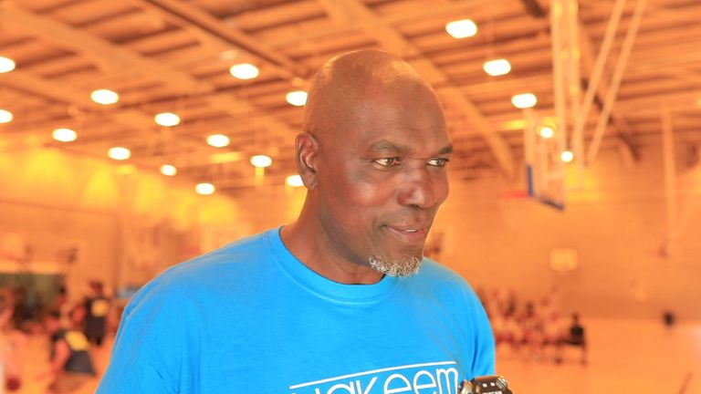 NBA legend Hakeem Olajuwon speaks to Sky Sports NBA at his basketball camp in Birmingham