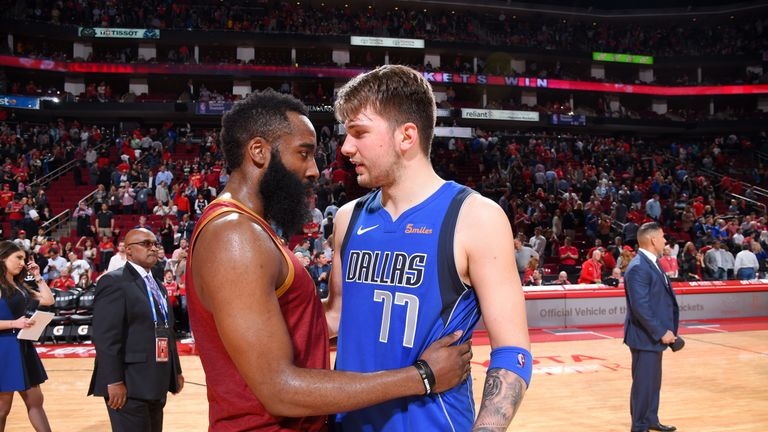 James Harden and Luka Doncic will face off in an NBA weekend primetime clash in November 2019