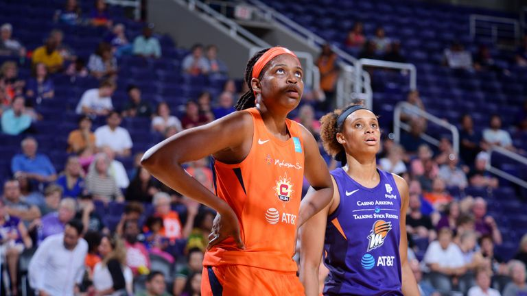 Jonquel Jones shows her concern during the Connecticut Sun's road loss to the Phoenix Mercury