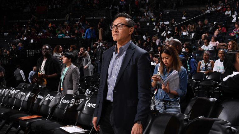 Brooklyn Nets owner Joseph Tsai courtside at a New York Liberty game