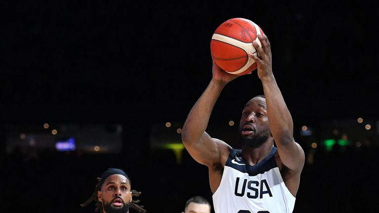 Kemba Walker lofts a floater in Team USA's exhibition game against Australia