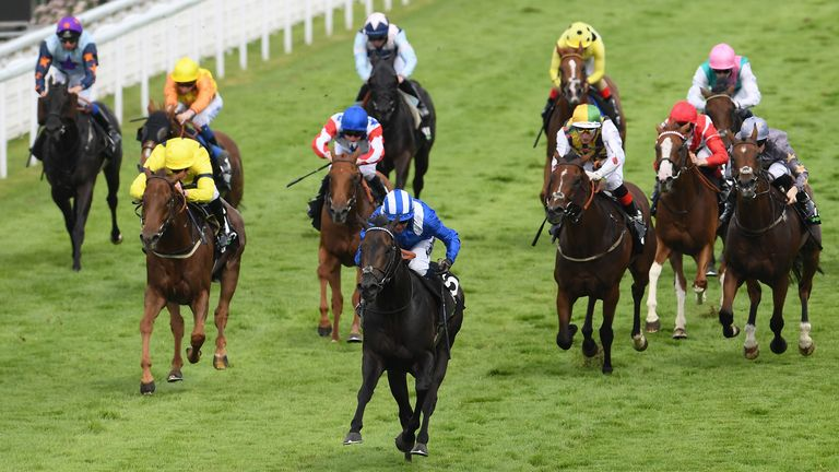 Jim Crowley and Khaadem win the Stewards' Cup at Glorious Goodwood
