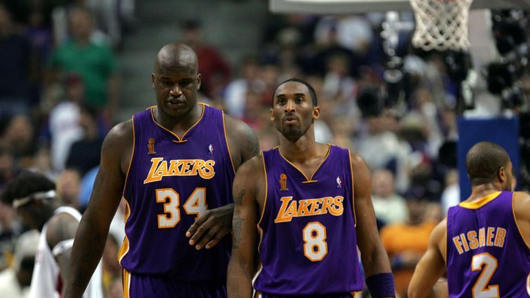 Shaquille O'Neal and Kobe Bryant pictured together during a Lakers game
