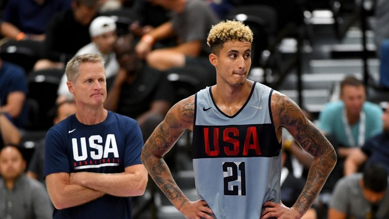 Kyle Kuzma is watched by assistant coach Steve Kerr at Team USA practice
