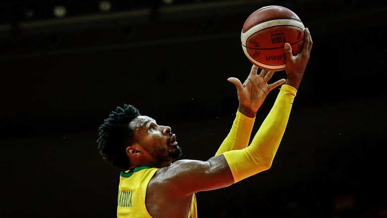 Leandro Barbosa scores with a lay-up for Brazil