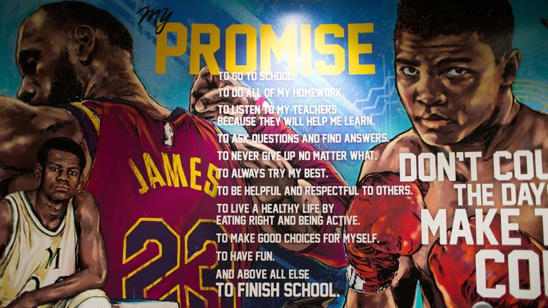 An inspirational mural at the I Promise school founded by LeBron James