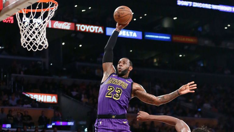 LeBron James hammers home a dunk for the Los Angeles Lakers