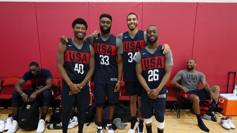 Boston Celtics players Marcus Smart, Jaylen Brown, Jayson Tatum and Kemba Walker pictured together at Team USA camp