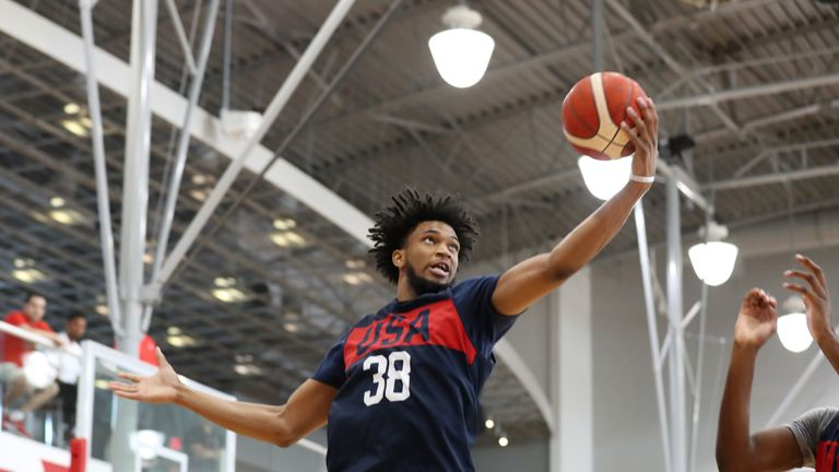 Marvin Bagley in action at Team USA Basketball camp in Las Vegas