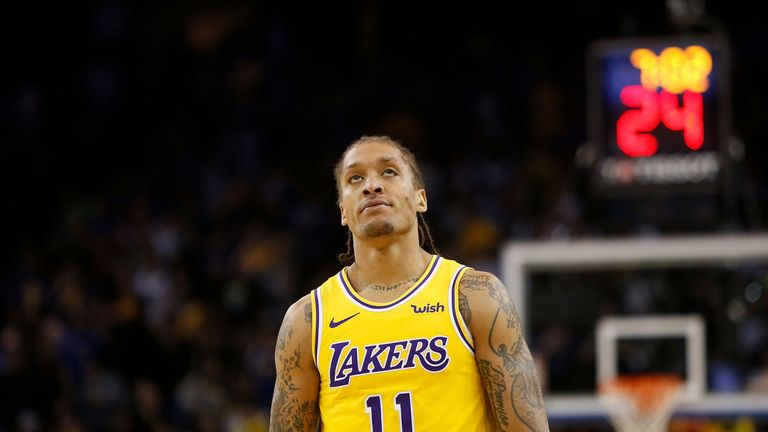 Michael Beasley on court for the Los Angeles Lakers during the 2018-19 regular season