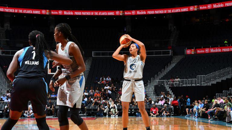 Napheesa Collier fires a jump shot against the Atlanta Dream