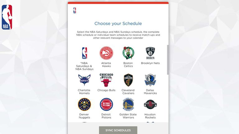 Sync your team's 2019-20 NBA schedule,  NBA Saturdays and NBA Sundays, to your phone's calendar