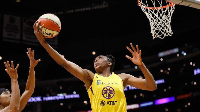 Nneka Ogwumike corrals a rebound against the Phoenix Mercury