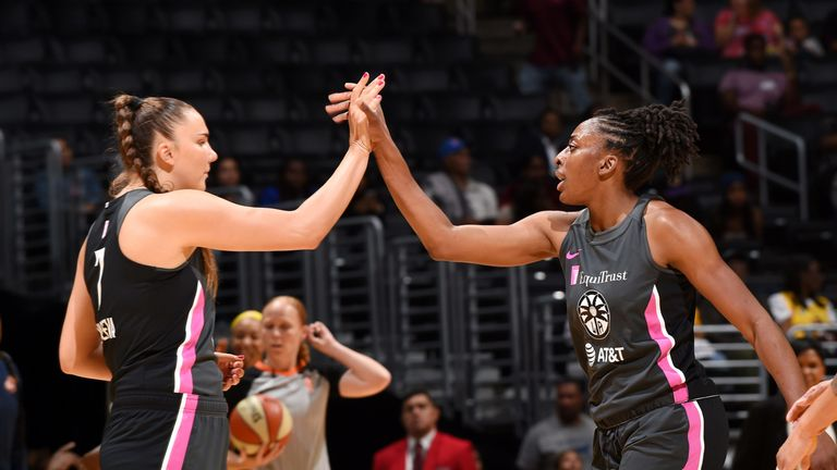 Nneka Ogwumike high-fives a team-mate during the Sparks' win over Indiana