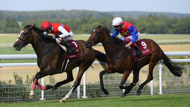 Oisin Murphy on Deirde (left) wins the Nassau Stakes
