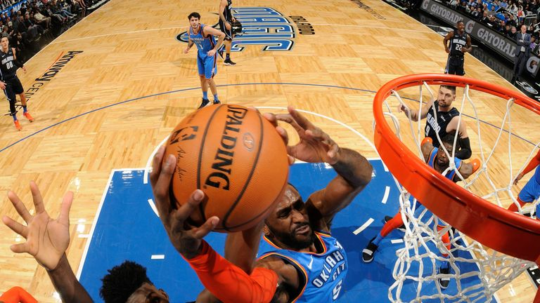 Patrick Patterson rises for a dunk for the Oklahoma City Thunder