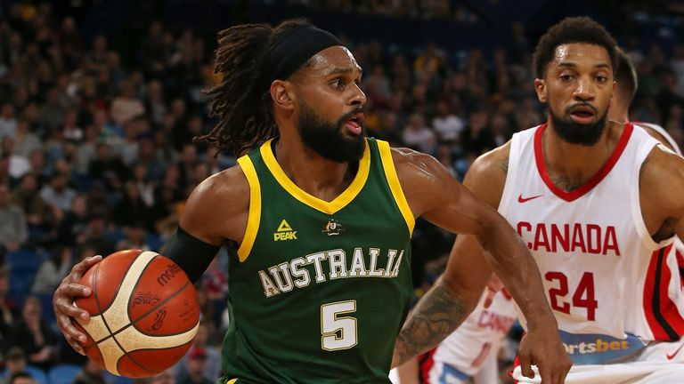Patty Mills in action for Australia against Canada in a pre-World Cup exhibition