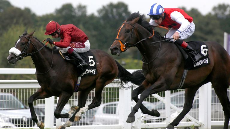 Positive (right) wins the Solario Stakes