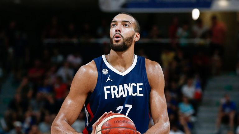 Rudy Gobert shoots a free throw for France