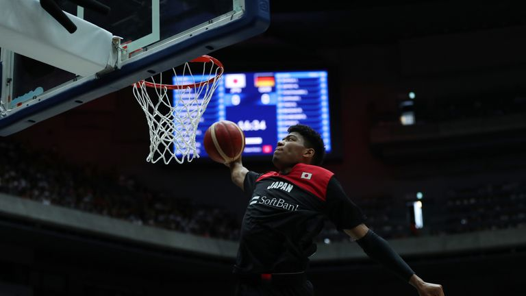 Rui Hachimura throws down a dunk for Japan