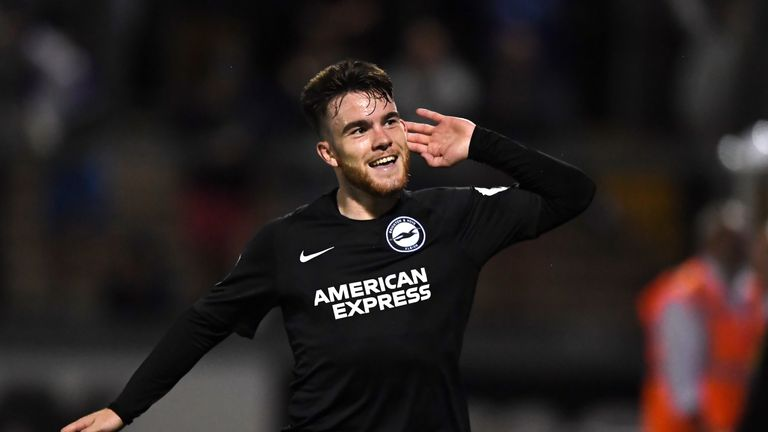Brighton's Aaron Connolly scored his first professional goal in their Carabao Cup win over Bristol Rovers