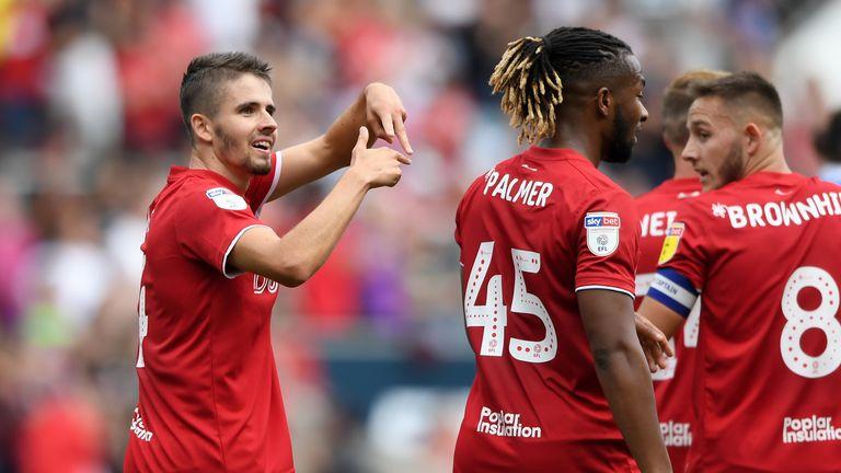 Adam Nagy of Bristol City celebrates scoring against QPR