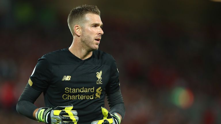 Adrian in action for Liverpool after coming on as first-half substitute for the injured Alisson