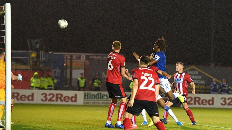 Alex Iwobi headed Everton in front late on at Sincil Bank