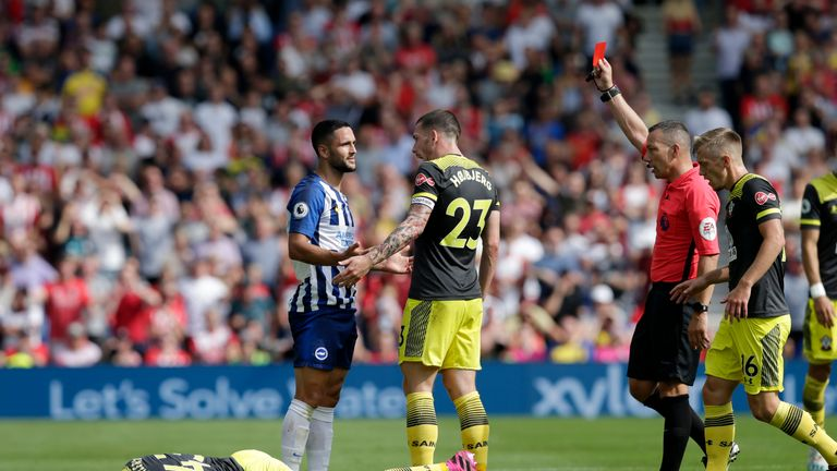 Florin Andone was sent off as Brighton played for an hour with 10 men