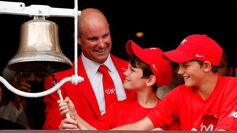 Strauss and his sons rang the five-minute bell at Lord's on the Ruth Strauss Foundation Day this summer