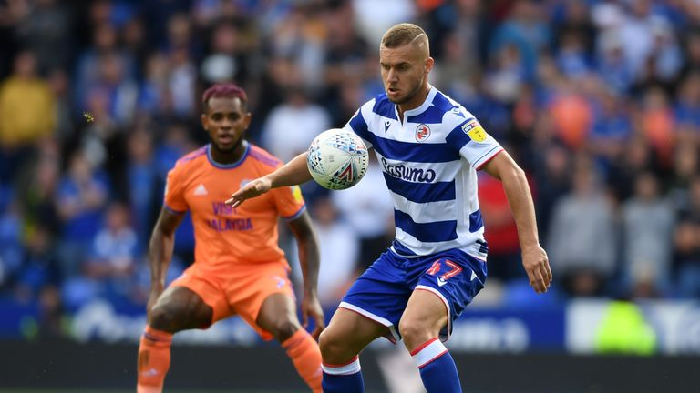 Andy Yiadom of Reading controls the ball during the match against Cardiff