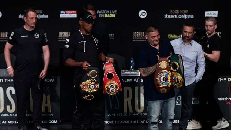 Anthony Joshua let Andy Ruiz Jr pose with the belts two days before they fought