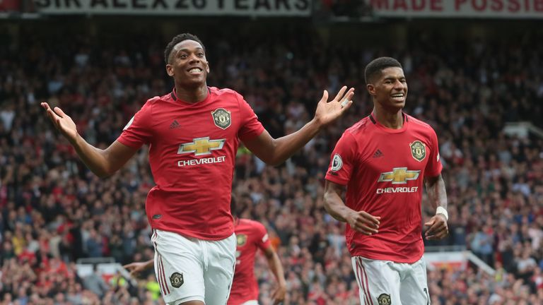 Anthony Martial and Marcus Rashford were on target in United's 4-0 win over Frank Lampard's side