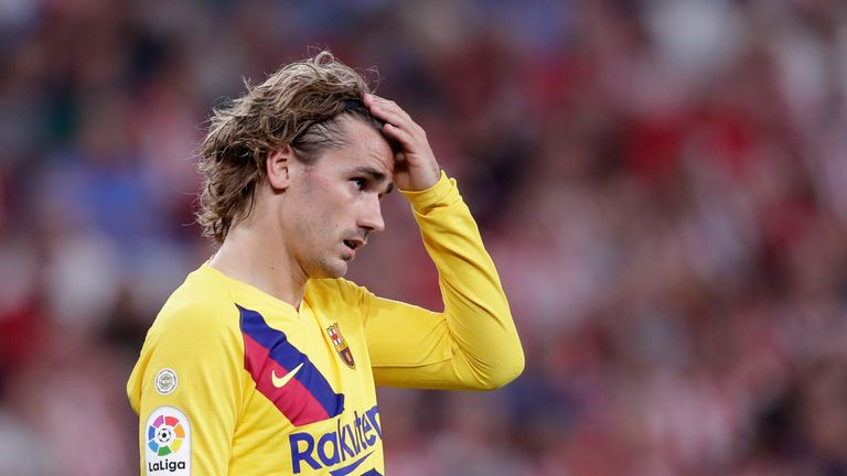 Antoine Griezmann in action during Barcelona's defeat at Athletic Bilbao