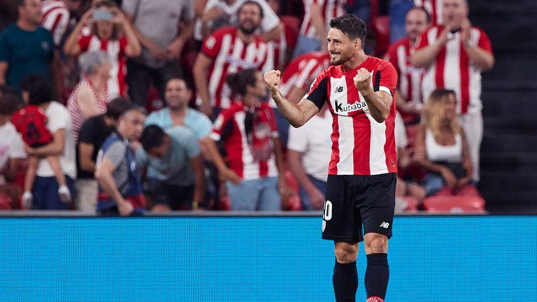Aritz Aduriz celebrates his stunning late winner over Barcelona