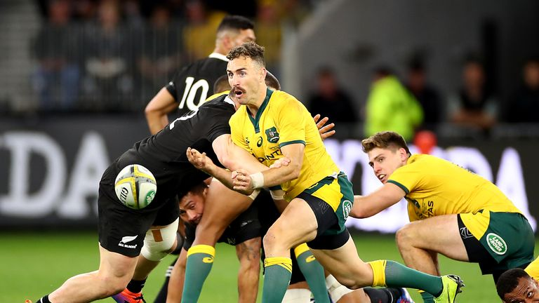 Nic White scored one of Australia's six tries in a man-of-the-match display