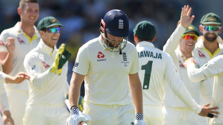 Jonny Bairstow walks off after being dismissed in the third Test.