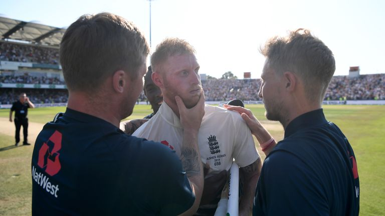 Ben Stokes with Jason Roy and Joe Root after he incredible Ashes century at Headingley