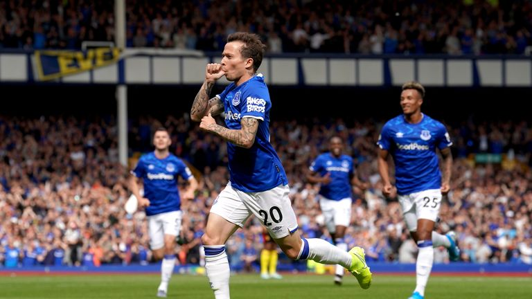 Everton's Bernard celebrates scoring his side's first goal of the game