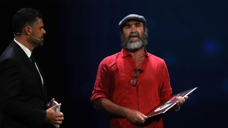 Eric Cantona surprised the crowd with his speech after receiving the UEFA President's Award