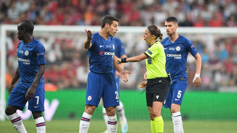 Action from Super Cup final Chelsea and Liverpool