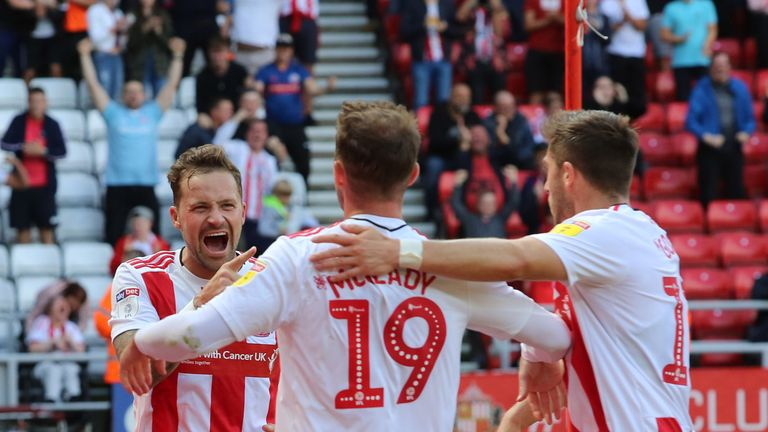 Chris Maguire celebrates with team-mates after giving Sunderland the lead