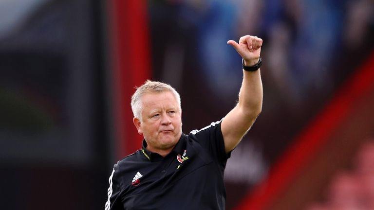 Chris Wilder, Manager of Sheffield United applauds fans after the Premier League match between AFC Bournemouth and Sheffield United at Vitality Stadium on August 10, 2019 in Bournemouth