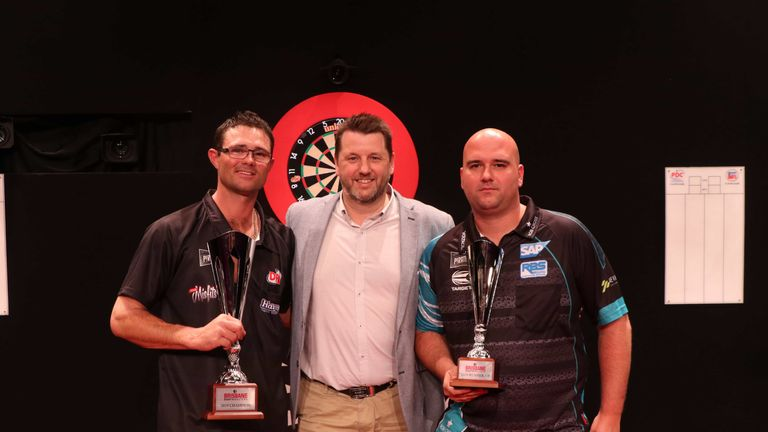 Heta and Rob Cross after the conclusion of the final (Credit: PDC/DartsPlace)