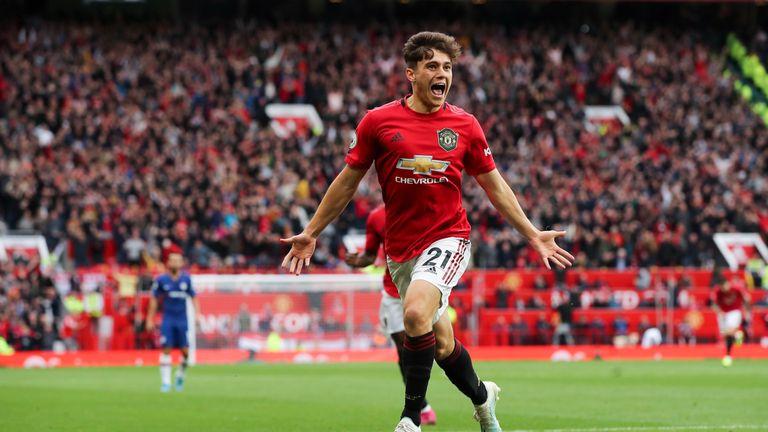 Daniel James goal celeb, Manchester United vs Chelsea, Premier League
