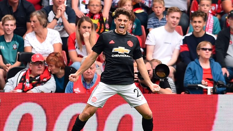 Daniel James celebrates his opener against Southampton