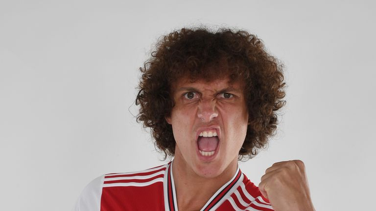 David Luiz poses during a photoshoot at London Colney