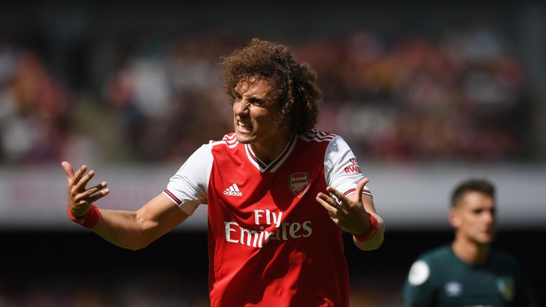 David Luiz gestures during Arsenal's Premier League match against Burnley
