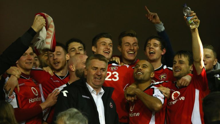 Smith celebrates reaching the EFL Trophy final in 2015